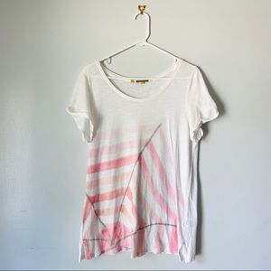 Anthro Little Yellow Button Casual Pink Geo Tshirt